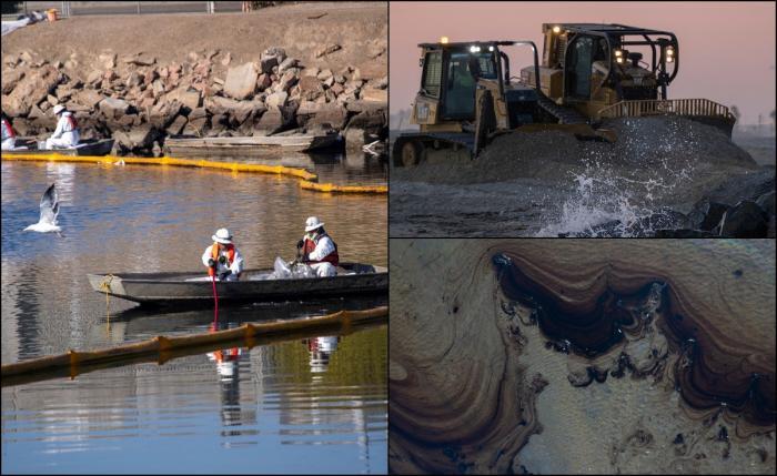 Plaja Huntington, afectată de scurgerile de petrol