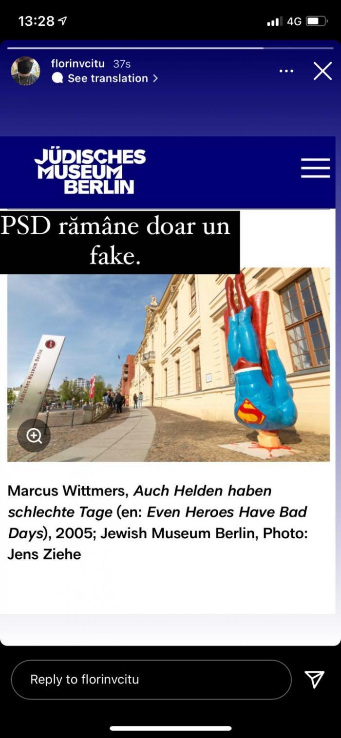 Florin Cîţu îi acuză de plagiat pe cei de la PSD în cazul statuii cu Superman
