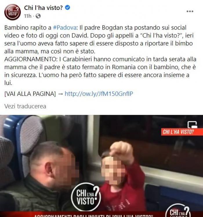 Micuțul David, băiețelul român răpit de lângă mama lui în plină stradă la Padova, în Italia, a fost găsit