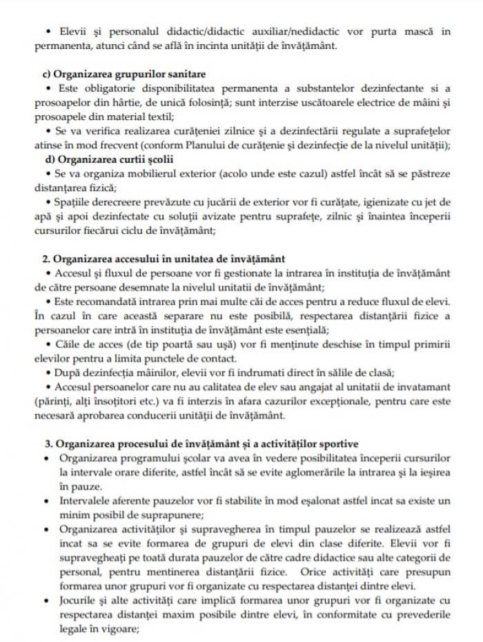 Regulile Ministerului Educaţiei pentru reluarea cursurilor în şcoli
