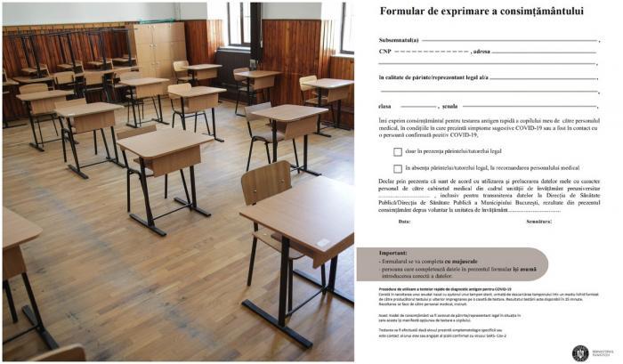 Astăzi se redeschid şcolile. A fost publicat noul formular prin care părinții își dau acordul pentru testarea copiilor