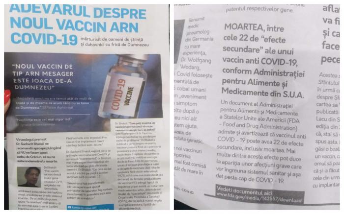 """Bărbat prins de polițiști când împărțea pe stradă, la Focșani, o revistă numită """"Adevărul despre noul vaccin ARN Covid19"""""""