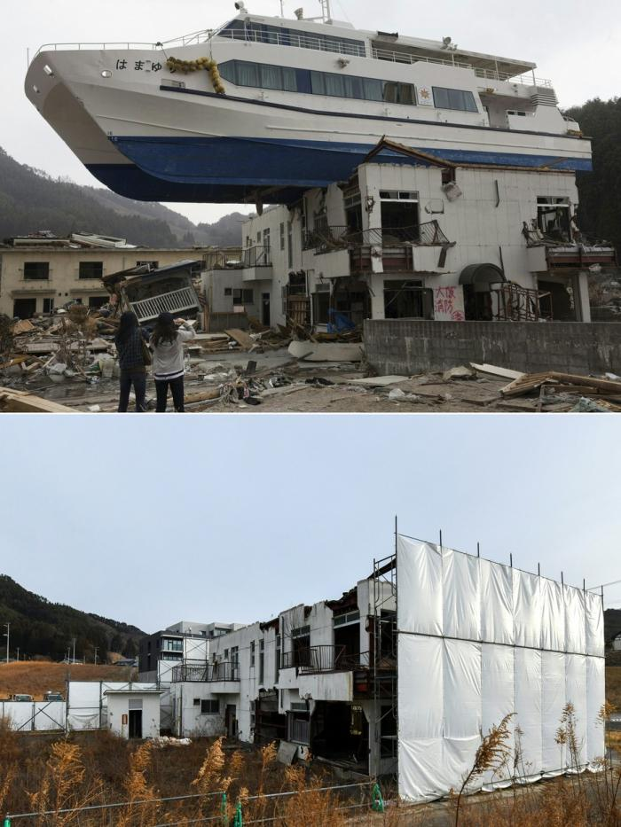 """Imagini """"atunci"""" și """"acum"""": 10 ani de la tsunami-ul care a generat catastrofa de la centrala nucleară de la Fukushima"""