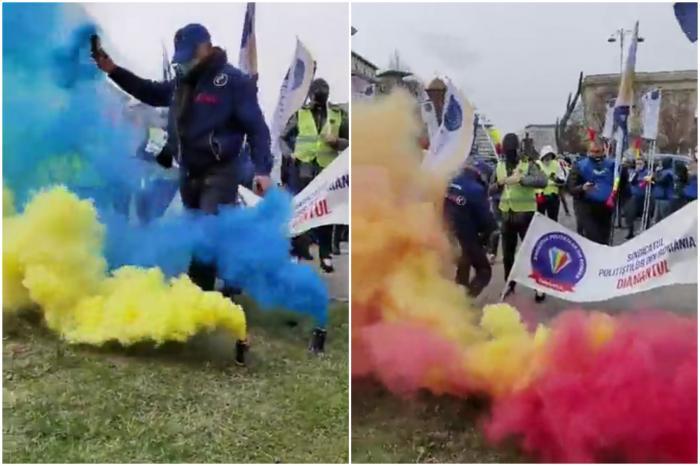 Protest cu fumigene la Ministerul de Interne – Poliţiştii cer demisia ministrului şi au cântat Imnul