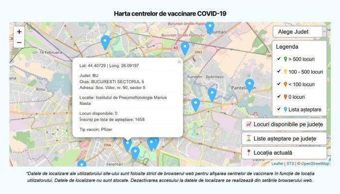Harta centrelor pe tipuri de vaccin, disponibilă: pot fi văzute locurile libere