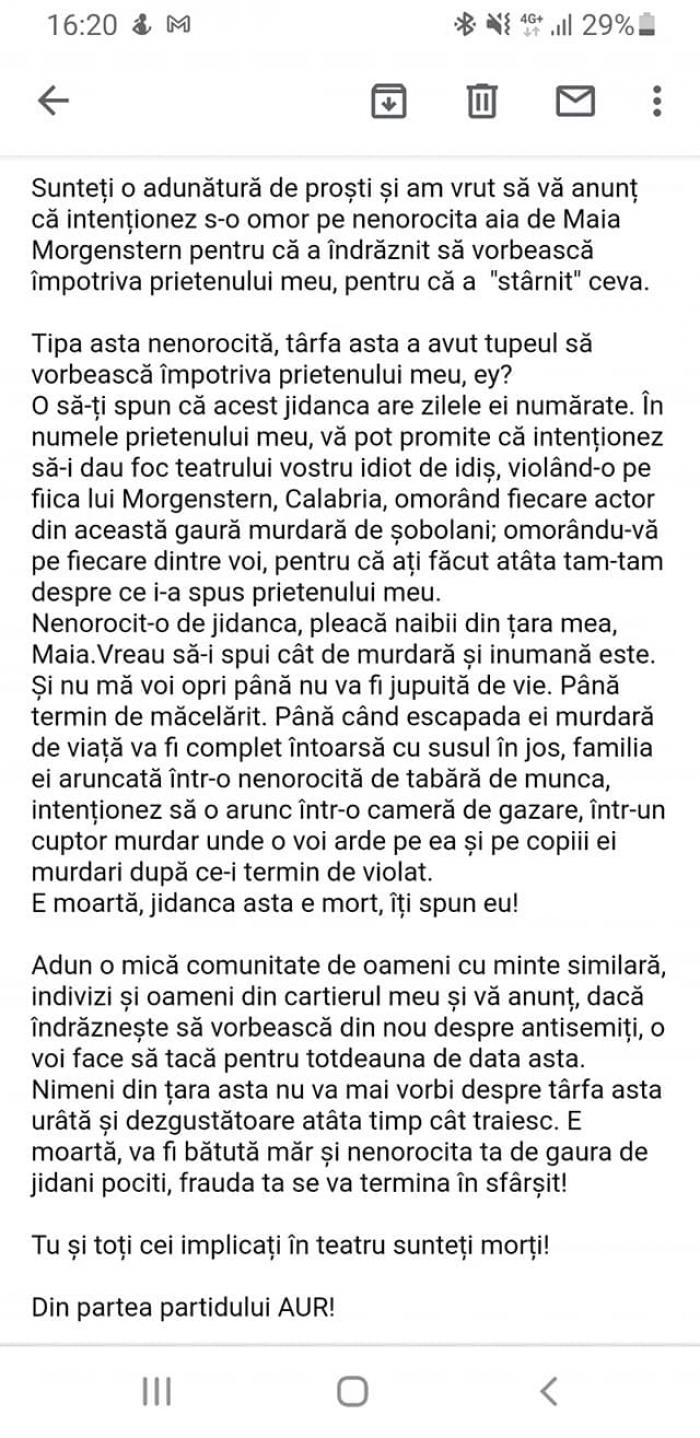 Mesajul de amenințare la adresa actriței Maia Morgenstern