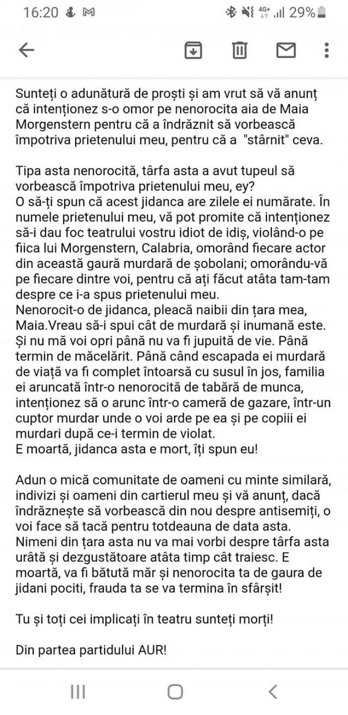 Brigada Antiteroristă a SRI a identificat persoanele care au amenințat-o cu moartea pe actrița Maia Morgenstern