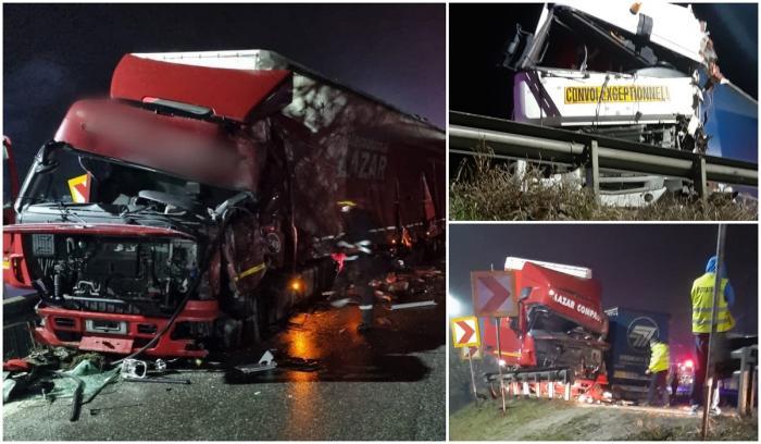 Două TIR-uri s-au ciocnit frontal pe Valea Oltului, după ce unul dintre şoferi a intrat cu camionul pe contrasens