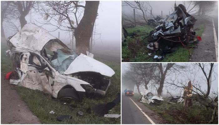 Audi A6 făcut praf la ieşire din Comana. Bolidul s-a rupt în două, șoferul de 34 de ani a murit pe loc