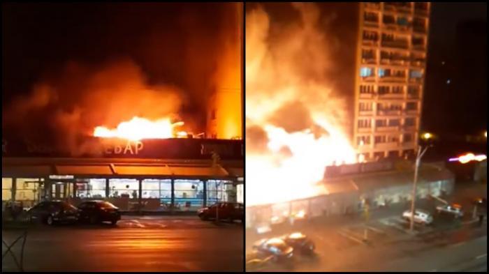 Incendiu uriaș la o cunoscută shaormerie din București. Flăcările violente au mistuit localul