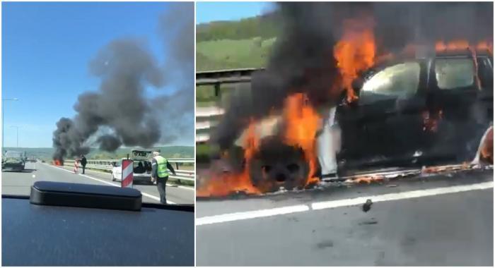 BMW X3 făcut scrum pe autostradă, lângă Aiud. Martorii acuză intervenţia târzie a pompierilor