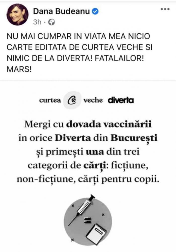 Dana Budeanu a declarat război editurii care oferă o carte gratuită celor vaccinaţi: Marş. Fătălăilor. Reacţia companiei a venit imediat