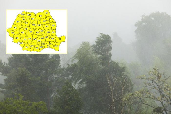 Alertă de ploi, grindină și vijelii emisă de ANM. Cod galben în toată ţara, până marţi seară