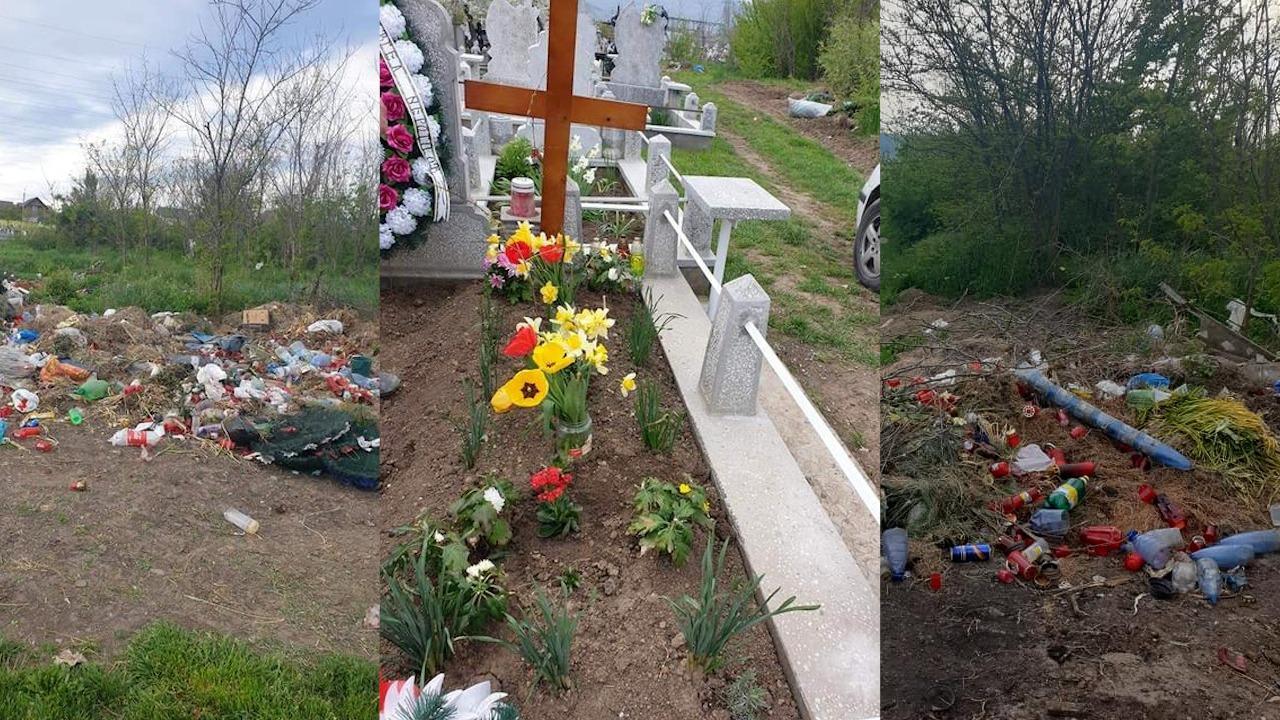Imagini dintr-un cimitir din Huș=i, care a fost vandalizat
