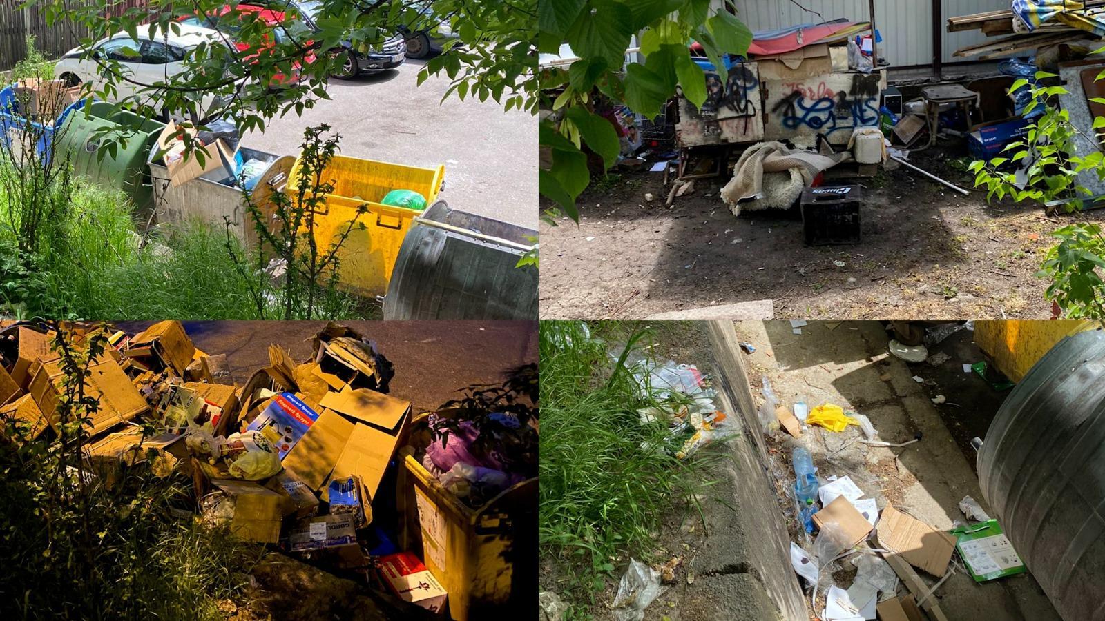 Imagini cu gunoaiele dintr-un cartier din cetrul orașului Pitești