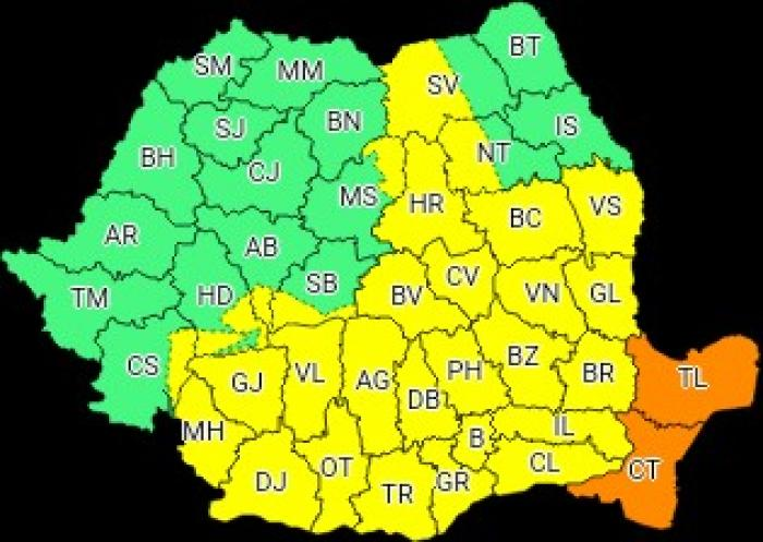 O nouă avertizare meteo: Cod galben de ploi în jumătate de ţară, cod portocaliu în Dobrogea