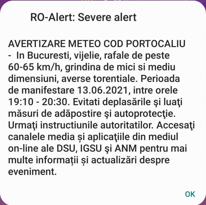 """Cod portocaliu de ploi și vijelii. Populația din București, avertizată prin RO-Alert: """"Evitați deplasările"""""""