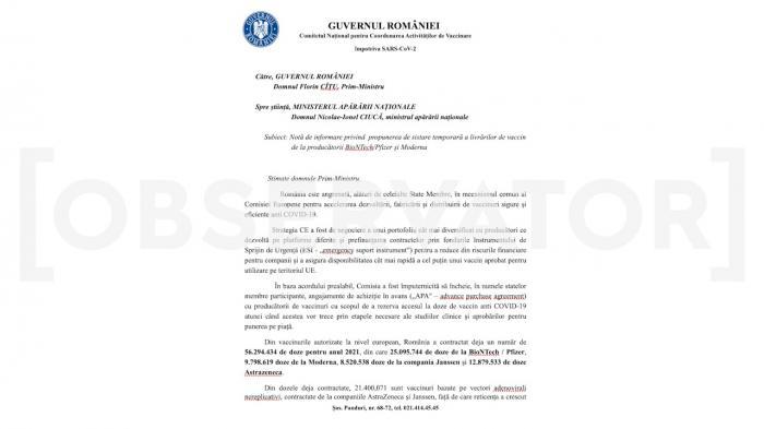DOCUMENT: România are vaccinuri și de aruncat. Zeci de mii de doze sunt aproape de a expira, Guvernul se pregătește să revândă