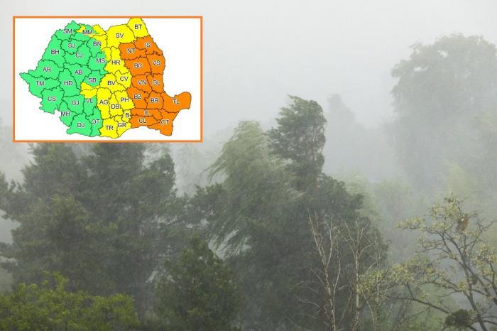 Alerte cod galben și portocaliu de vreme severă în jumătate de țară. Ploi, grindină și vijelii până miercuri noapte