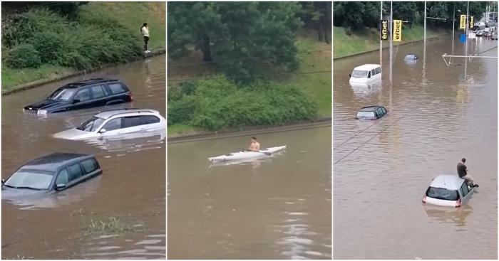 Maşini sub ape şi străzi transformate în râuri, după o ploaie torenţială la Ruse. Imagini fără precedent la vecinii bulgari - VIDEO