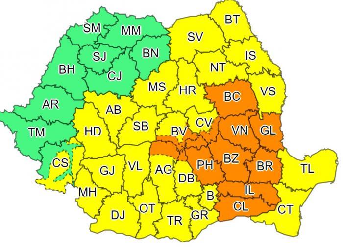 Alerte cod galben și portocaliu în aproape toată țara. Ploi torenţiale şi vijelii în București și 32 de județe