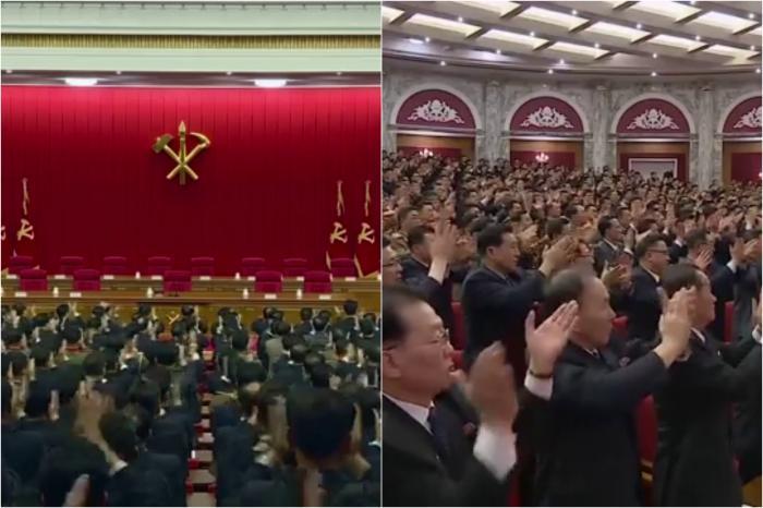 """VIDEO. Kim Jong-Un, aplaudat minute în șir. Dictatorul nord-coreean a cerut pregătire pentru """"confruntare și dialog"""" cu SUA"""