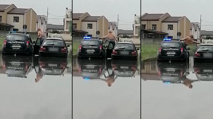 Tânără salvată de poliţie dintr-o zonă inundată