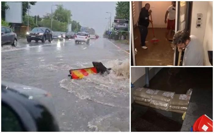 Ploaia torențială a dat peste cap traficul în Capitală. Mai multe apartamente noi din Bragadiru au fost inundate
