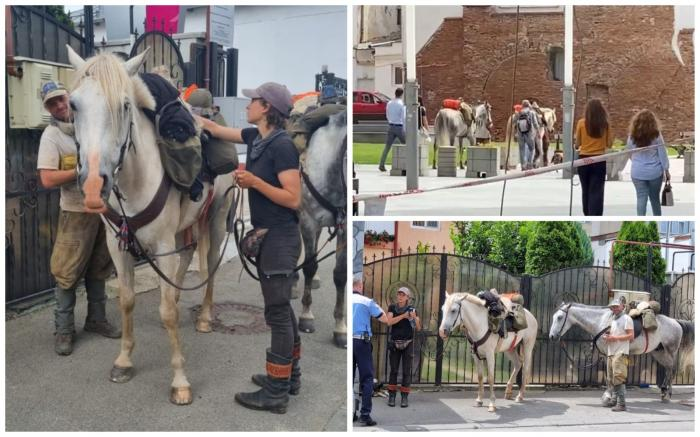 Doi turiști străini, rupți parcă din filmele western, s-au rătăcit cu tot cu cai prin centrul istoric al Craiovei