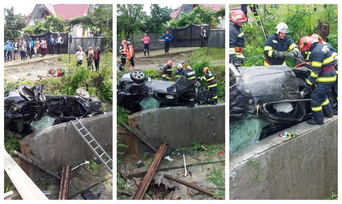 Maşina implicată în accidentul din Bacău s-a răsturnat în afara carosabilului