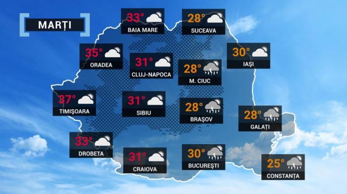 harta meteorologică 22 iunie