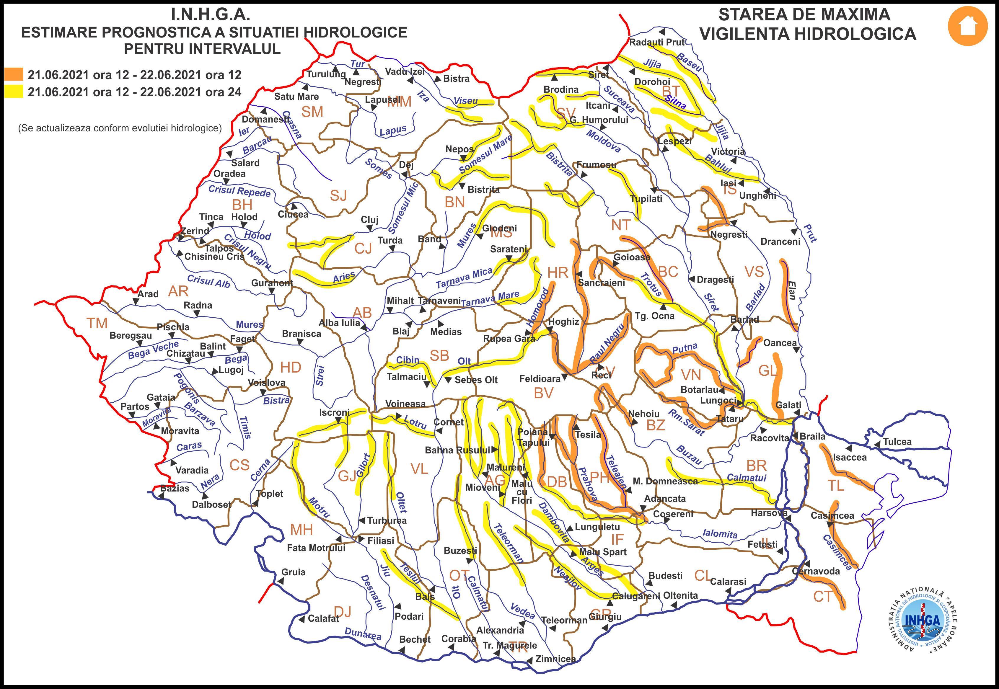 Avertizare hidrologică emisă de Institutul Național de Hidrologie și Gospodărire a Apelor