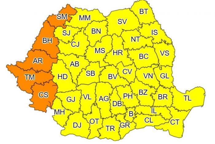 Alertă meteo de caniculă în România. Cod portocaliu în 5 județe, restul  țării sub avertizare cod galben