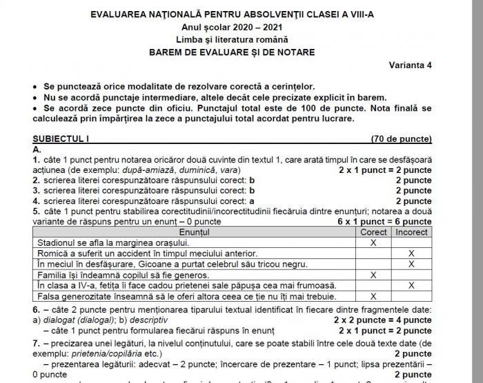 Barem limba română Evaluare Naţională 2021