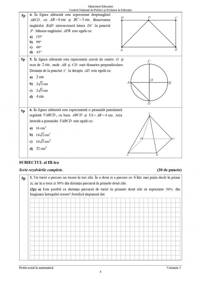 Subiectele la Matematică la Evaluare Naţională 2021