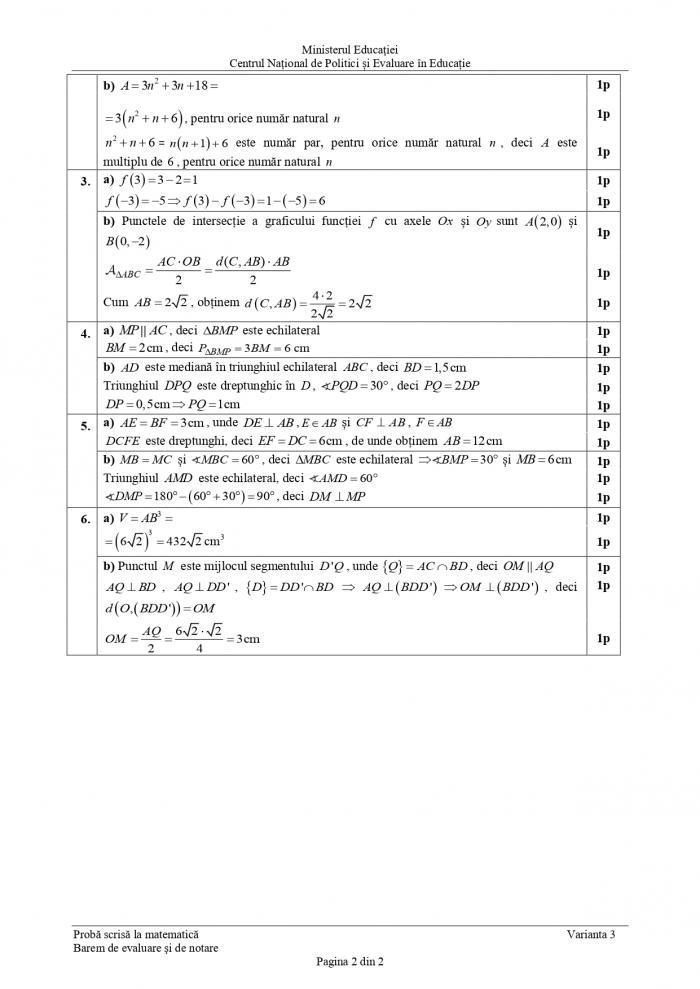 Barem evaluare naţionala 2021 - matematică