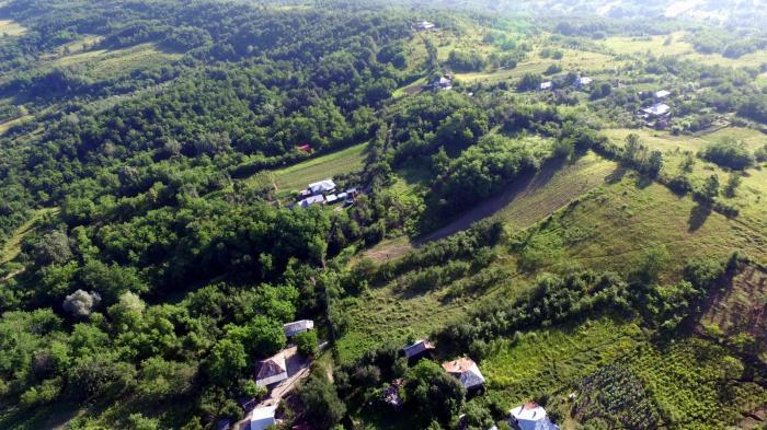 Imagini surprinse din dronă cu prăbușirea unui deal din localitatea Roșiile, Vâlcea. Amploarea dezastrului