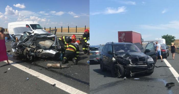 Accident cumplit pe autostrada A1, în Timiș. O femeie a murit, în urma coliziunii dintre un Volkswagen și un BMW