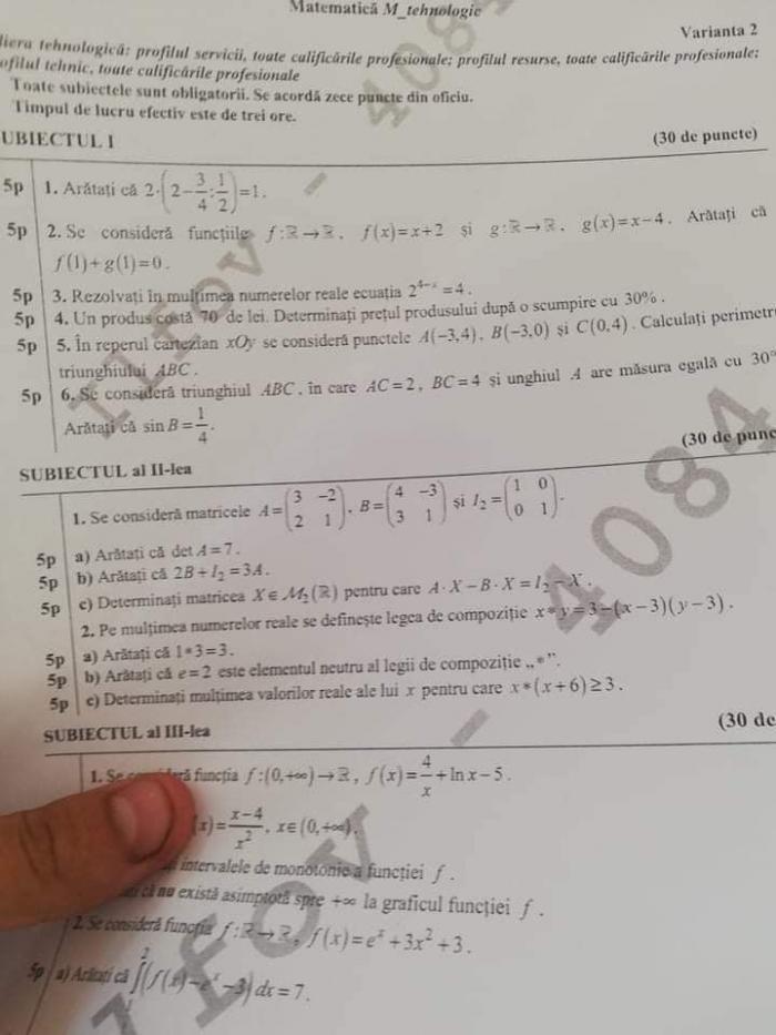 Subiecte BAC matematica profil real