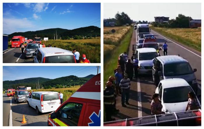 Accident grav în Gura Humorului: 7 răniţi, după ce două microbuze şi un autoturism au intrat în coliziune. A fost activat planul roşu de intevenţie