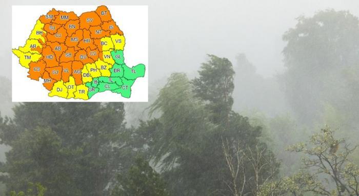 Coduri galben și portocaliu de ploi torențiale, grindină şi vijelii în aproape toată ţara. Vreme severă în 33 de județe