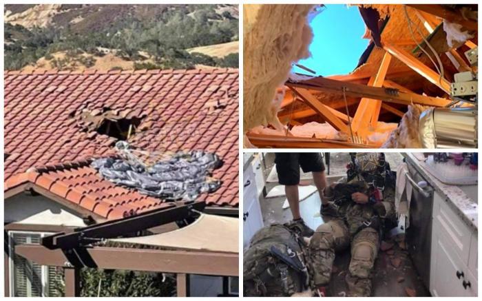 Parașutistul care a căzut pe acoperișul unei case din sudul Californiei