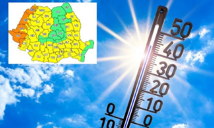 Alertă meteo de caniculă în România. Cod portocaliu în 5 județe și galben în aproape toată țara