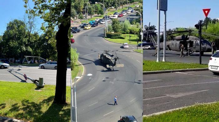 Un elicopter american Black Hawk a aterizat forţat în piaţa Charles de Gaulle. A doborât stâlpii de electricitate