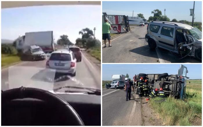 O şoferiţă de 70 de ani n-a văzut camionul venind din sens opus și a fost la un pas să provoace o tragedie, lângă Mizil. Video cu impactul
