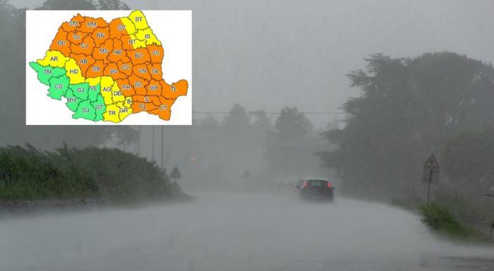 Aproape toată ţara, sub avertizări de furtuni severe, ploi şi grindină. Coduri galben şi portocaliu în Bucureşti şi 34 de judeţe