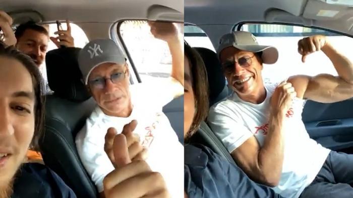 Jean Claude van Damme, filmat într-o mașină cu români în timp ce ascultă manele. Şoferul a făcut live pe facebook