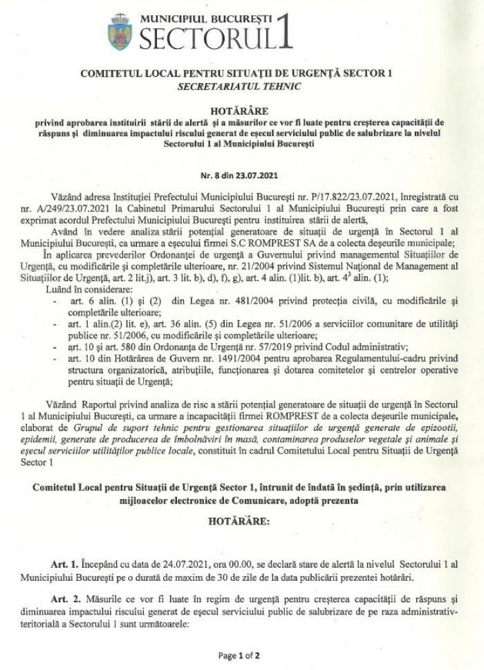 Documentul prin care este declarata starea de alerta in Sectorul 1