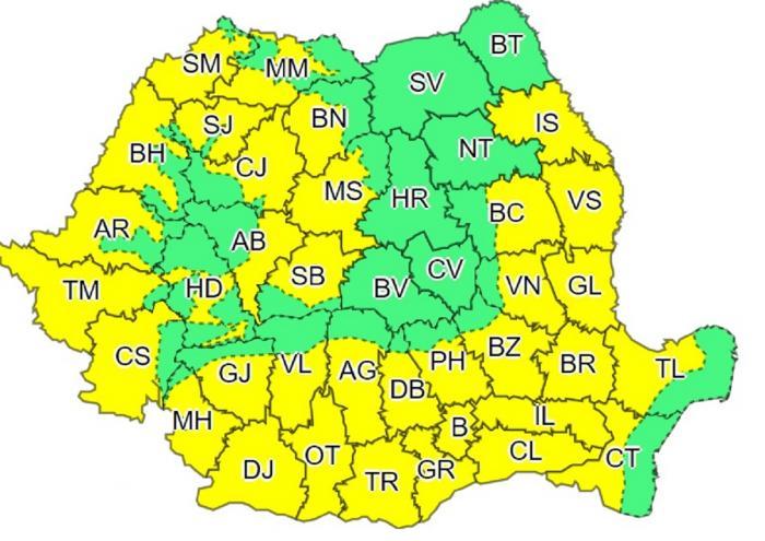 Cod galben de caniculă în România. ANM anunță temperaturi de peste 40 de grade Celsius la umbră, în următoarele zile