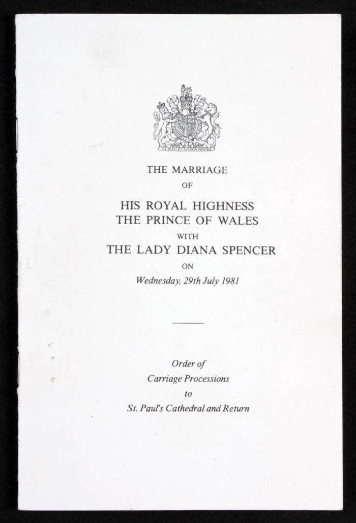 Carte informativă din ziua nunţii Prinţului Charles cu Prinţesa Diana
